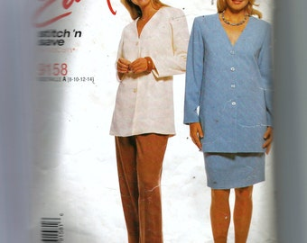 McCall's Misses' Unlined Jacket, Pull-On Pants and Skirt Pattern 9158