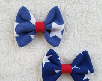 Red, white, and blue custom knit bow set