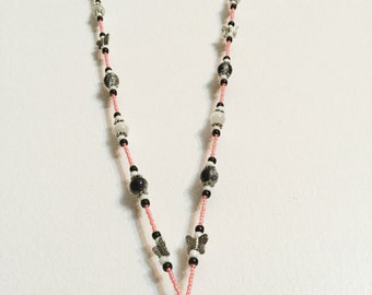 Salmon/White/Black Spring Flowers Butterfly Handmade Beaded Lanyard, Name Badge, ID Holder, Magnetic Clasp
