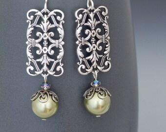 Green Pearl Earrings, Green Earrings, Swarovski Crystal Pearl Jewelry, Silver Filigree Earrings, Silver Dangle Earrings Nickel Free, Hadley