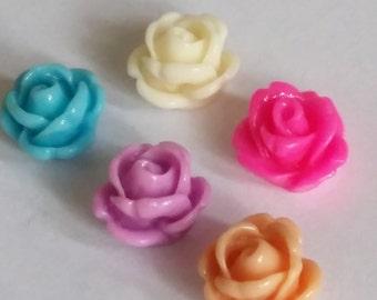 10pcs Resin Flower Embellishments - Flatback Embellishments - Resin Flower Cabochon - Jewelry Making - Rose Cabochon