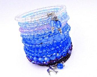 Blue wrap bracelet, memory wire bracelet, crystal bracelet, blue cuff bracelet, bird bracelet, sparrow bracelet, beaded wrap bracelet