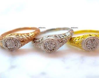 14K White Gold Vintage Style Diamond Ring