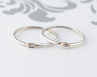 Sterling Silver Baguette Diamond Knuckle Ring