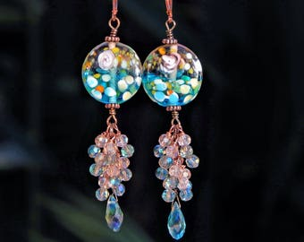 Long and Dangly Crystal Cluster Copper Earrings Handmade with Murano Glass Beads and Green and Pink Crystals