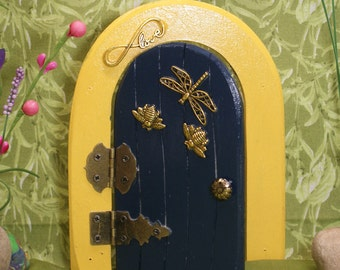 Fairy Door, Dark blue with Dragonfly and bees
