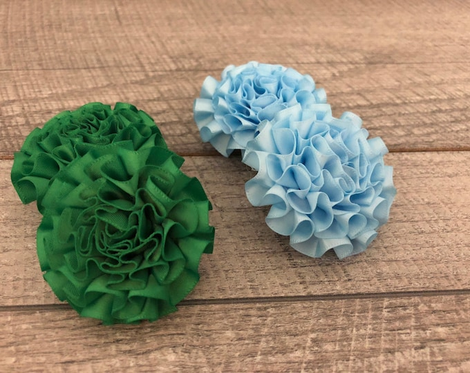 "2"" Green or Baby Blue Mini Satin Flower 
