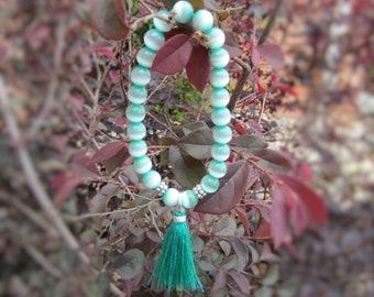 Clearance Bracelet, Sale Bracelet, Teal Bracelet, Tassel Bracelet, Stretch Bead Bracelet, Cats Eye Jewelry, Gift for Teenage Girl