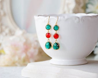 Emerald Green Red Glass Siam Gold Earrings