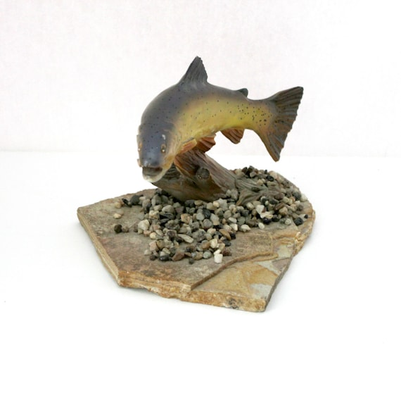 Vintage Cutthroat Trout Sharon Simonson Signed Statue Sculpture on Stone