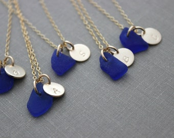 Genuine Cobalt blue Sea Glass Initial Necklaces, Personalized Initial Charm Necklace, Bridesmaid Set, 14k gold filled, Beach Bridesmaids