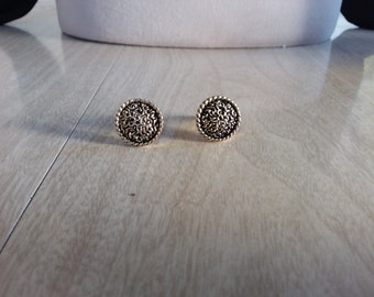 """Vintage """"Judy Lee"""" Cuff Links Circle Gold Tone Textured"""