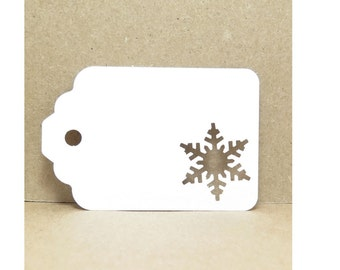 20 Snowflake Cut-Out Cardstock Paper Gift Tags, 3 1/4 x 2 1/8 Inches