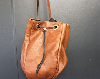 Gorgeous Brown Leather Bucket Shoulder Bag Genuine Leather Handbag SALE