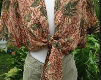 Tropical tie waist crop top