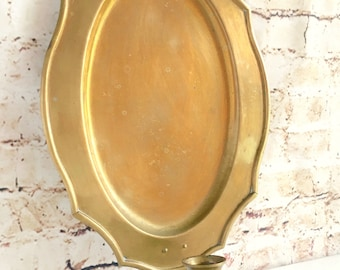 Genuine Brass Wall Sconce Candle Holder Large Backplate Worn Aged Patina Ready to hang