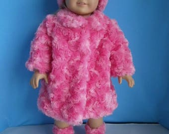 American Girl doll size Furry Pink Coat with Boots and Hat, Pink Fun Fur Coat and Hat for 18 inch Dolls