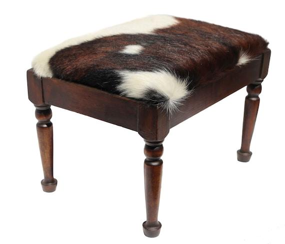 Vintage Wood Furniture Cowhide Stool Cowhide Footstool Cowhide