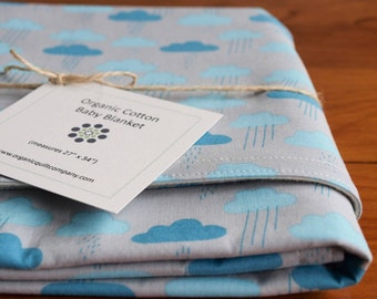 Blue and Gray Baby Blanket; Organic Baby Shower Gift, Organic Receiving Blanket, Cozy Modern Newborn Blanket, Handmade Baby Gift Cloudy Days