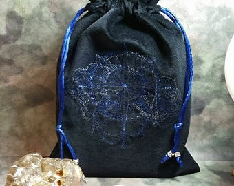 CLEARANCE ITEM Sky Compass Embroidered on Cotton Velvet Drawstring Tarot Bag Tarot Pouch Rune Bag Rune Pouch Crystal Bag Lined