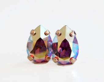 Rose gold earrings with rose ab Swarovski crystals