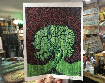 Woman Tree Green With Red Leaves Wall Art by artist Rafi Perez Original Artist Enhanced Print 8X10