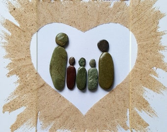 Cornish Pebble Art Picture Family of Five 5 Together Love Heart Unique Handmade Gift