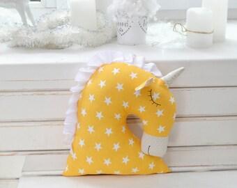 Yellow stuffed toy unicorn plush unicorn soft toy pillow handmade unicorn stuffed toy unicorn room decor unicorn head pillow unicorn nursery