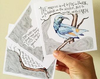 Trio of Illustrated Mini-Prints