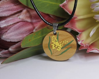 Flower Pendant Necklace-Australian Wildflower Pendant Necklace-Painted Pendant-Flower Necklace Pendant-Painted Flower Pendant-Aussie Flora