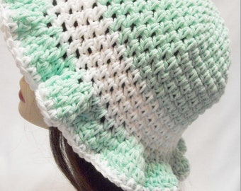 Crochet Sun Hat, Cotton Summer Sun Hat in Mint Green and White,