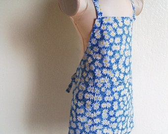 Childrens Apron - Brilliant Blue Daisy Summer apron, a Sweet kids apron to cook and create fun in, a great little chefs apron