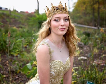 Adult Queen Lace Crown - Quinn - Lace Crown - Gold - Full Size - Adult - Tiara - Princess - Photo Props - Birthday - Regal