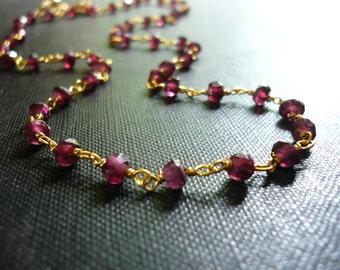 Garnet Necklace - Linked Wrapped Genuine Red Garnet Gemstone Necklace in Gold Vermeil - Dainty Garnet Necklace