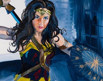 Wonder Woman Print, Warrior, Super Hero, Sword and Shield, Brave, Girls' Room Decor, 11x14, Willow Branch Studio