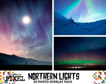NORTHERN LIGHTS Photoshop OVERLAYS, Aurora Borealis, Night Sky Overlay.