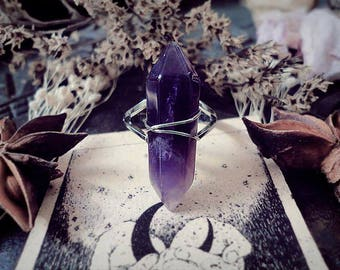 Amethsyt Crystal Point Ring, Fairy Ring, Purple Stone Ring, Adjustable Ring, Witch Ring