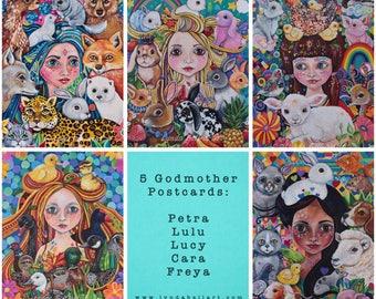 Postcards: Set of five Godmothers - set 1