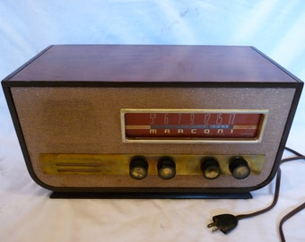 1953 Marconi model 369 Chassis 319A wood case 6-tube table top radio- iPod ready