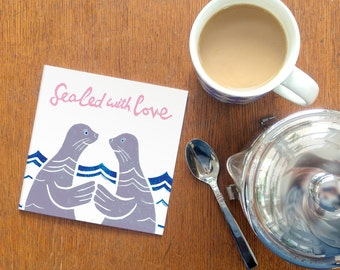Sealed with Love - Greetings Card -  Whimsical sea themed love, valentine or friendship card. Great for seal, dolphin & whale lover!