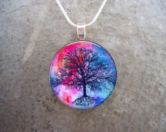 Tree Jewelry - Glass Pendant Necklace - Tree of Life Jewellery - Tree 10