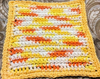 Yellow Variegated 100% Cotton Dishcloth or Washcloth