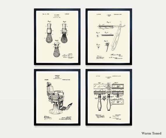 Shaving Patent Art - Straight Razor - Barber Chair - Razor - Razor Patent - Shaving art - Bathroom Art - Bathroom Patent - Mens Bathroom