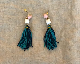 Pink and blue statement earrings