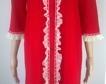 """Vintage 1960s Red Nylon Nightgown Lace Ruffles St Michael 34/36"""" Vintage Lingerie 60s Fleece Nightie Modest Lace Nightdress"""