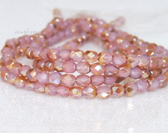 Milky Pink Celsian, Czech Beads Fire Polished 4mm 50 Faceted Round GLass