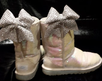 new product 31fc6 59eaf Sparkly Mini Cheer Bow Ugg Shoe Clips Set of 2 Silver   White Bling Bows