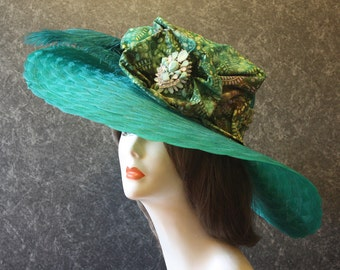 Teal Kentucky Derby Hat, Derby Hat, Garden Party Hat, Tea Party Hat, Easter Hat, Church Hat, Wedding Hat, Downton Abbey Teal Hat 098