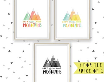 Mountain wall art, Set of 3, instant download, Baby you'll move mountains, tribal nursery, mountain print, woodland nursery, 8x10