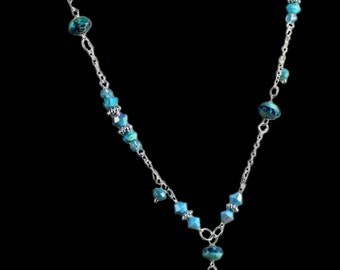 Silver and Turquoise Blue 'Y' Necklace ... NK-SI-1202